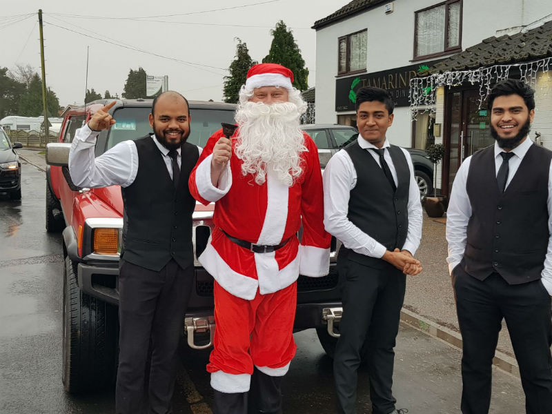 Santa and the Hummer Limousine
